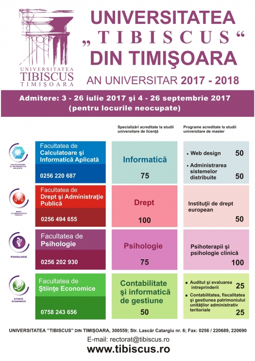 Admitere Tibiscus - an universitar 2017-2018